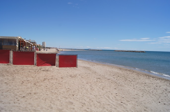 Vendres Plage - our first sight of the Mediterranean