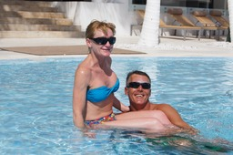Jane & Robert of London in the Pool at Le Blanc Spa